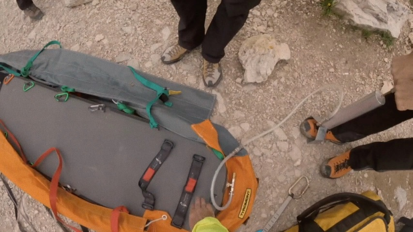 Northwall Pneuspine and HCBag in use on the Dolomites
